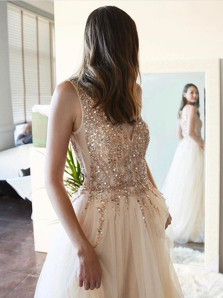 simibridal Champagne Prom Dress Long Tulle Evening Dress with Sequins-simibridal