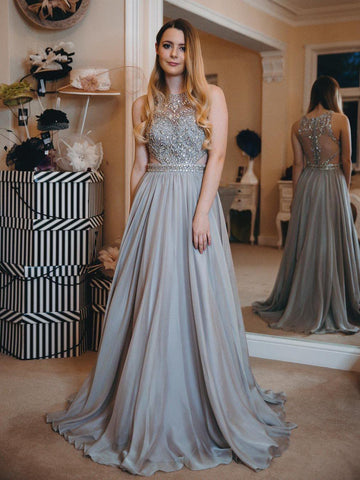 simibridal Grey Floor Length Satin Prom Dresses with Beadings-simibridal