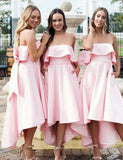 Simisprom Pink Strapless Asymmetric Satin Bridesmaid Dresses-SIMISPROM