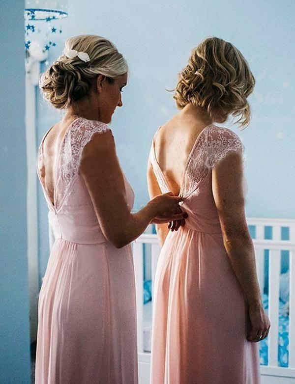 simibridal Pink Long Chiffon Bridesmaid Dresses with Cap Sleeves-simibridal