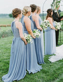 Simisprom Halter Blue Long Chiffon Bridesmaid Dresses-SIMISPROM