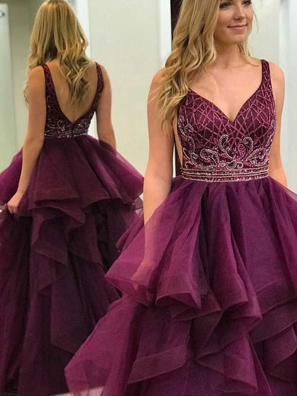 Simisprom Burgundy V-neck Burgundy Prom Ball Gown with Beadings-SIMISPROM