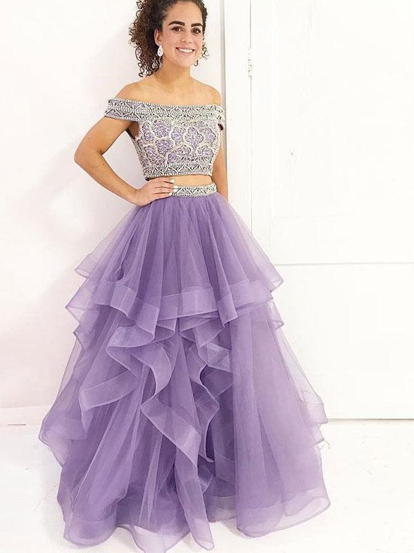 Simisprom Off The Shoulder Two Pieces Tulle Prom Dress with Beadings-SIMISPROM