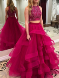 Simisprom Two Pieces Halter Tulle Prom Ball Gown with Layers-SIMISPROM