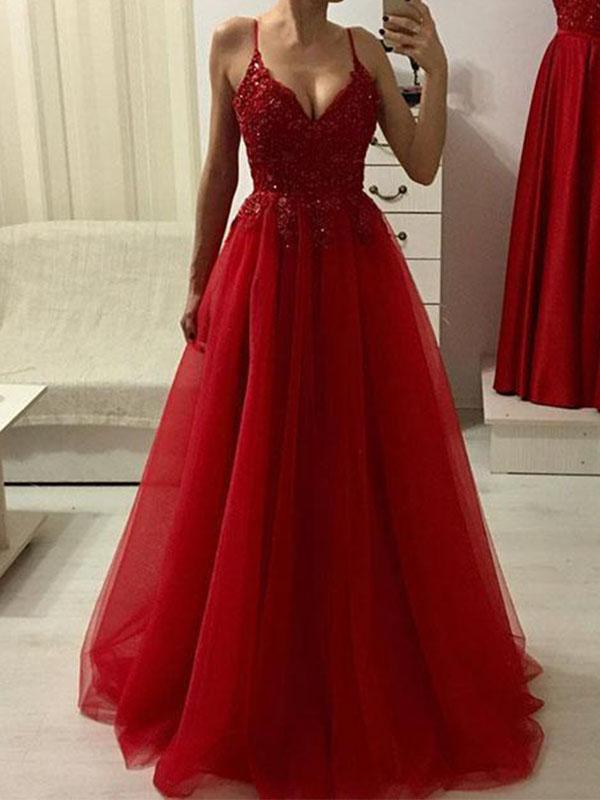 Simisprom Spaghetti Straps Red Prom Dress with Beadings-SIMISPROM