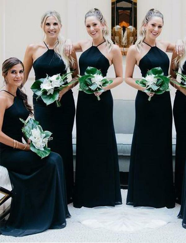 simibridal Dark Navy Halter Satin Bridesmaid Dresses-simibridal