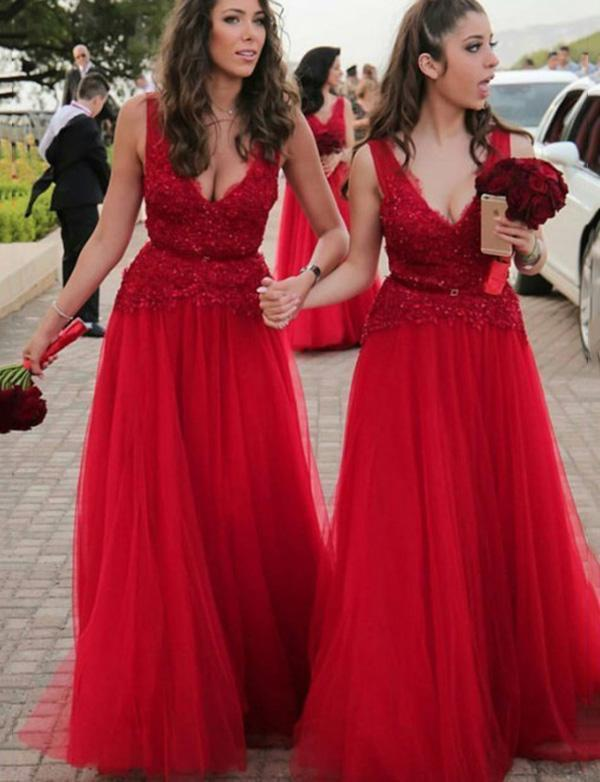 simibridal Red V-neck Tulle Bridesmaid Dresses with Lace-simibridal