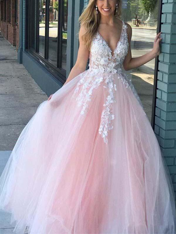 Simisprom Pink V-neck Tulle Prom Dress with Lace-SIMISPROM