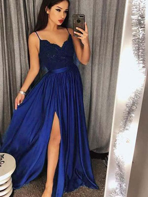 Simisprom Spaghetti Straps Long Satin Prom Dress with Split-SIMISPROM