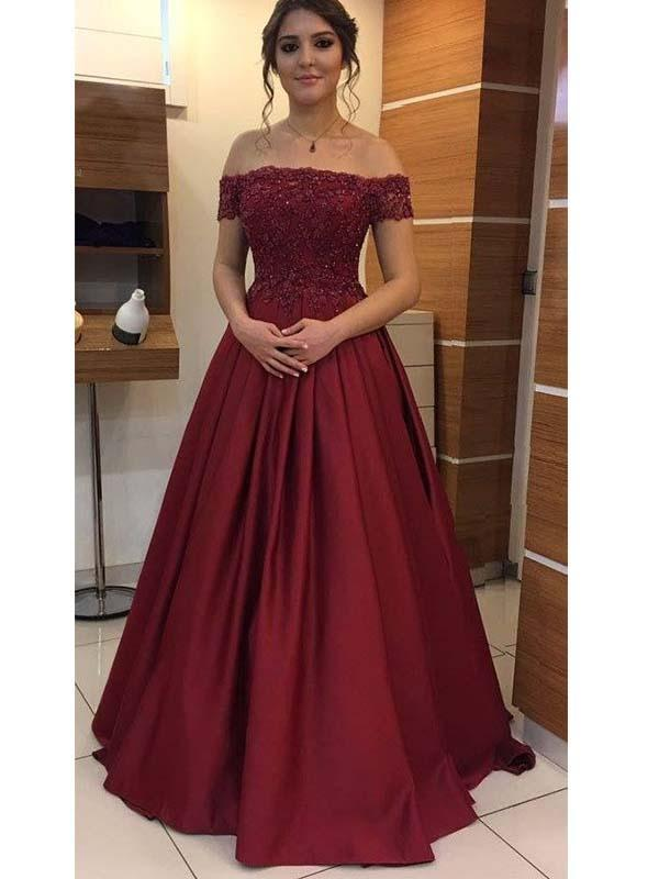 Simisprom Burgundy Off The Shoulder Satin Prom Dress with Lace-SIMISPROM