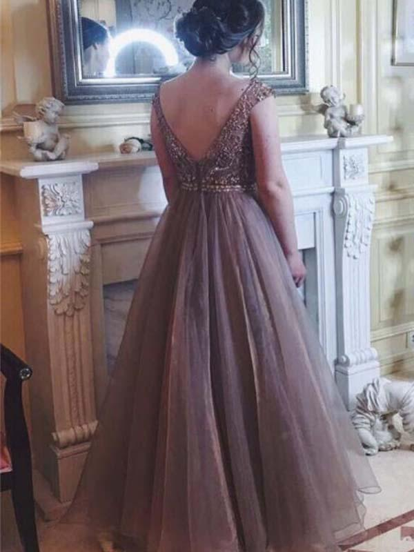 simibridal Champagne Round Neck Long Tulle Prom Dress with Beadings-simibridal