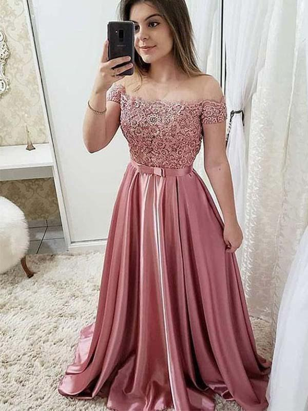 Simisprom Off Shoulder Pink Long Satin Prom Dress with Knot-SIMISPROM