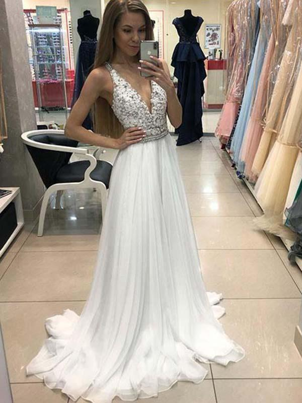 Simisprom White V-neck Floor Length Chiffon Prom Dresses with Lace-SIMISPROM