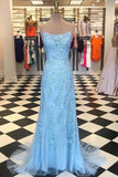 simibridal Sky Blue Spaghetti Straps Mermaid Prom Dresses with Applique-simibridal