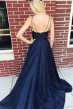 simibridal Spaghetti Straps Royal Blue Prom Dresses with Split-simibridal