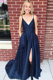Simisprom Spaghetti Straps Royal Blue Prom Dresses with Split-SIMISPROM