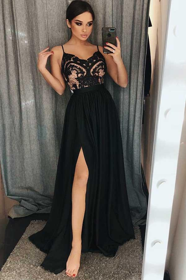 simibridal Spaghetti Straps Black Lace Prom Dresses with Split-simibridal