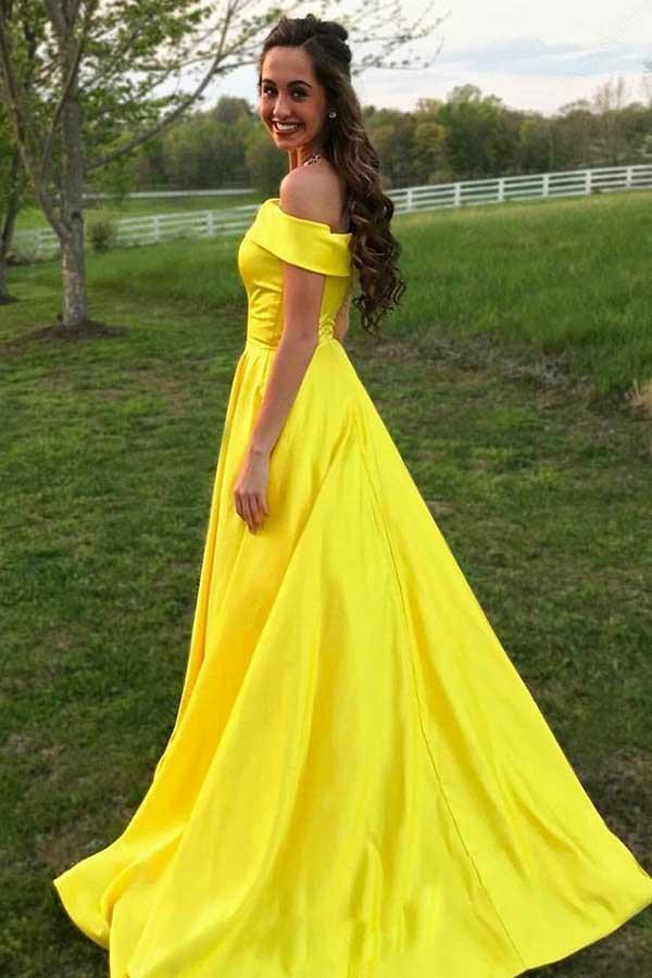 simibridal Yellow Off Shoulder Long Satin Prom Dresses-simibridal