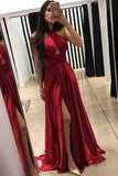 simibridal Sexy Red Backless Long Satin Prom Dresses with Split-simibridal