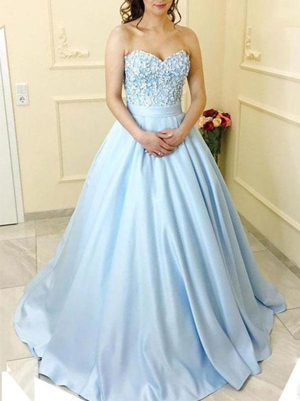 simibridal Sky Blue Sweetheart Prom Ball Gown with Applique-simibridal