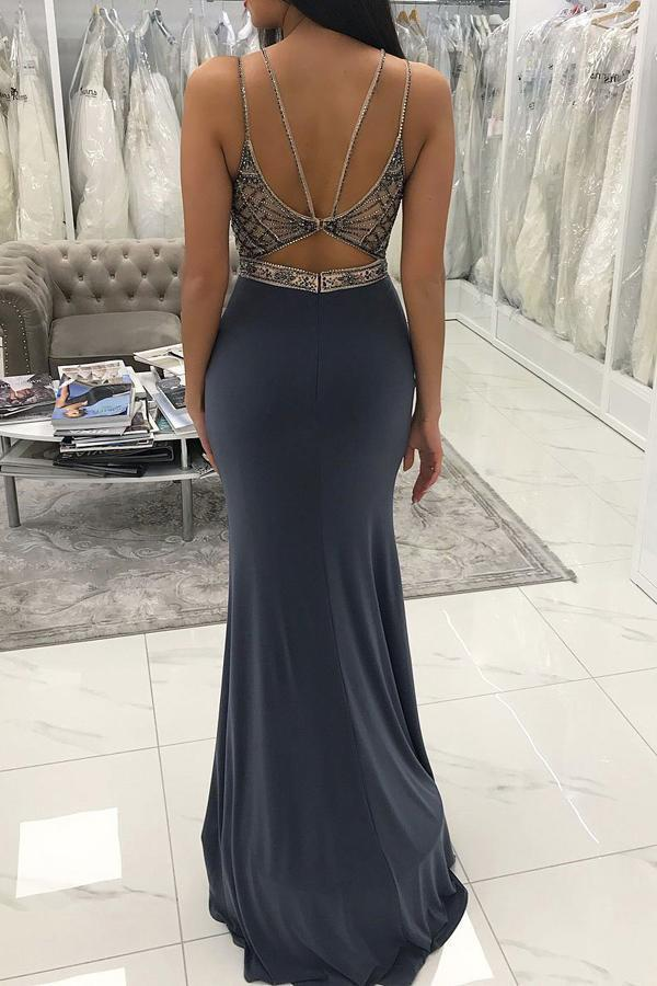 simibridal Grey Long Satin Mermaid Prom Dress with Beadings-simibridal