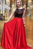 simibridal Two Pieces Black and Red Satin Prom Dresses with Embroidery-simibridal