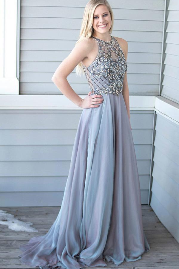 Simisprom A Line Halter Grey Long Satin Prom Dresses with Beadings-SIMISPROM