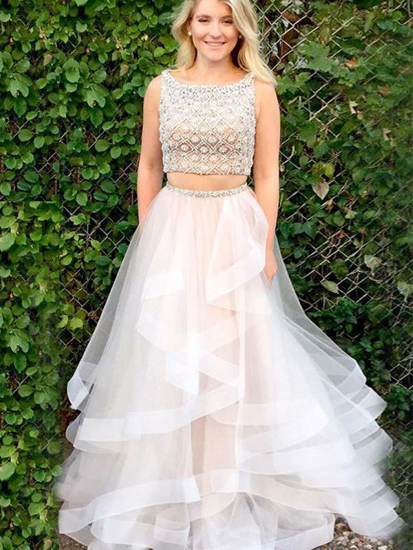 simibridal Two Pieces Layered Tulle Prom Dresses with Beadings-simibridal