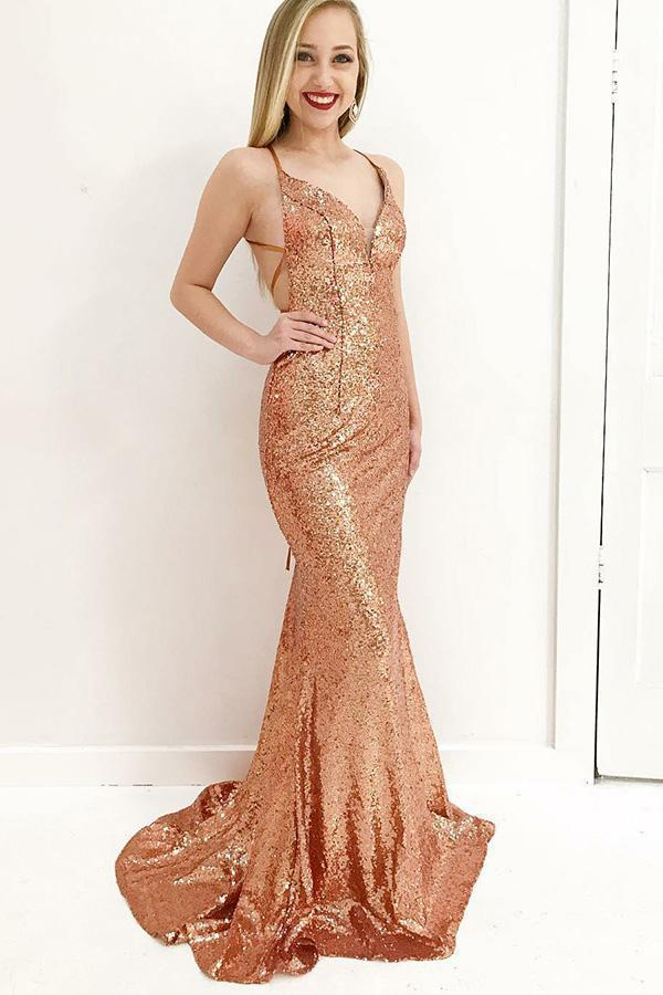 simibridal Gold Spaghetti Straps Mermaid Sequined Prom Dresses-simibridal