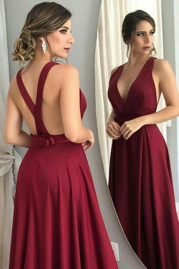 simibridal A Line Burgundy V-neck Long Satin Prom Dresses with Knot-simibridal