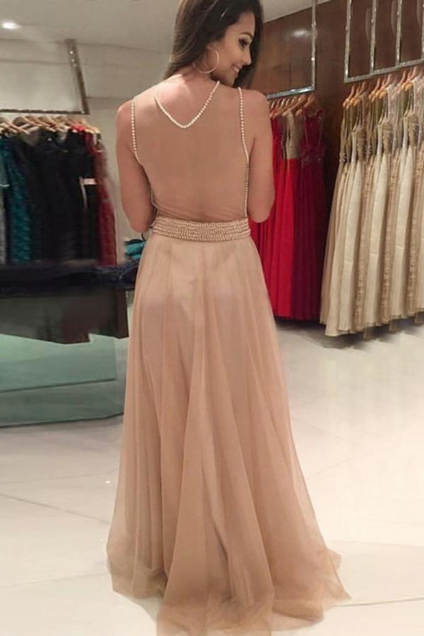 simibridal A Line Champagne Long Chiffon Prom Dress with Long Sleeves-simibridal