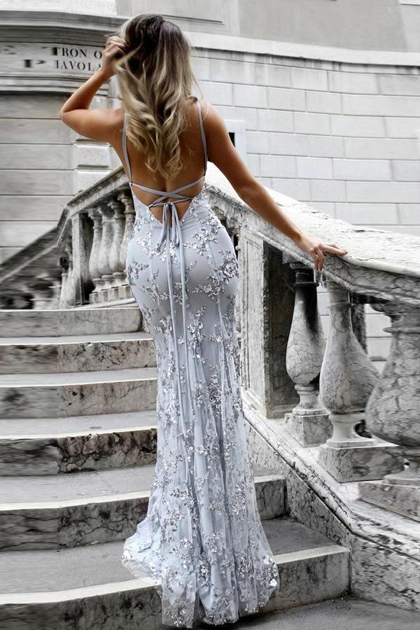 simibridal Spaghetti Straps Silver Long Mermaid Prom Dress with Lace-simibridal