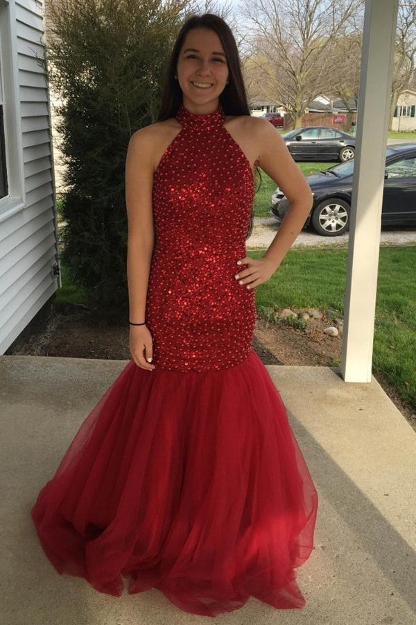 simibridal Halter Red Long Mermaid Prom Dresses with Beadings-simibridal