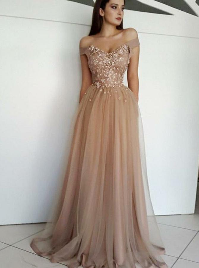 simibridal Champagne Off Shoulder Long Tulle Prom Dresses with Applique-simibridal