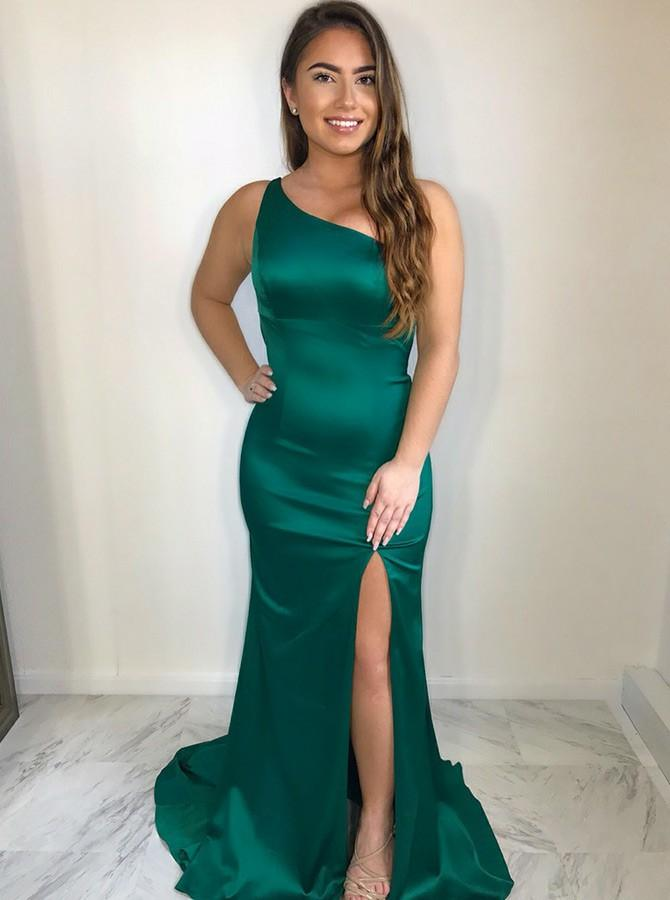 simibridal Dark Green One Shoulder Long Satin Prom Dress with Split-simibridal