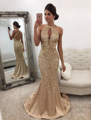 simibridal Gold Halter Long Mermaid Prom Dresses with Beadings-simibridal
