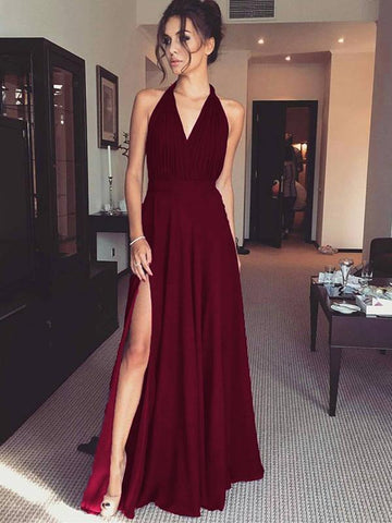 simibridal Burgundy V-neck Satin Prom Dresses with Split-simibridal
