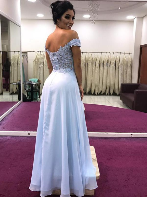 simibridal Off Shoulder Long Chiffon Prom Dresses with Split-simibridal