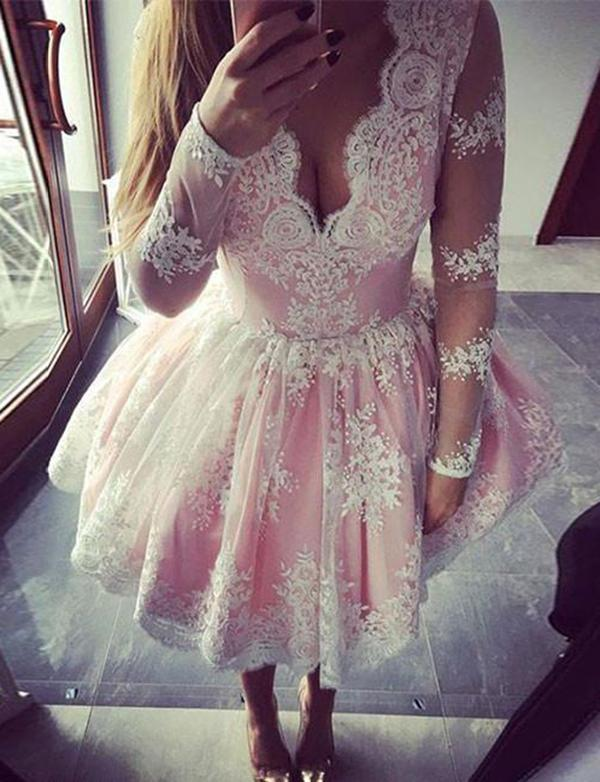 simibridal A Line Pink Lace Homecoming Dresses with Long Sleeves-simibridal
