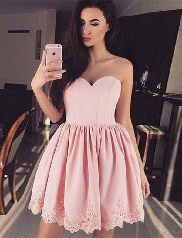 simibridal A Line Pink Sweetheart Satin Homecoming Dresses-simibridal
