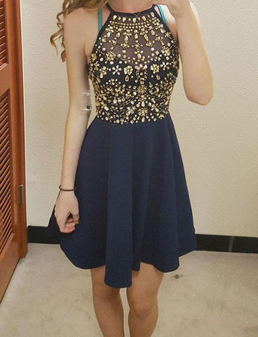 Navy Blue Homecoming Dresses with Halter Neck Beadings-SIMISPROM