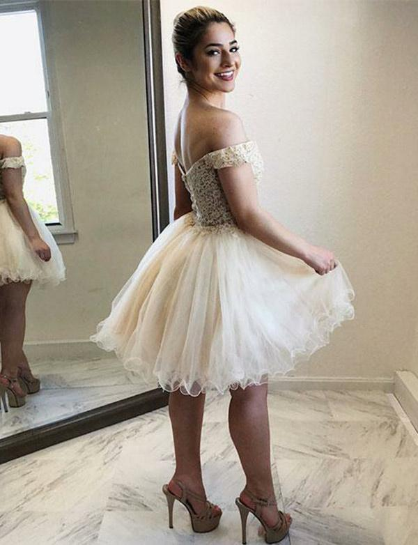 Champagne Off Shoulder Homecoming Dresses with Applique-simibridal