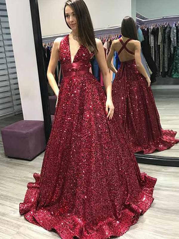 A Line Burgundy Sequined Long Prom Dress with X-back-simibridal