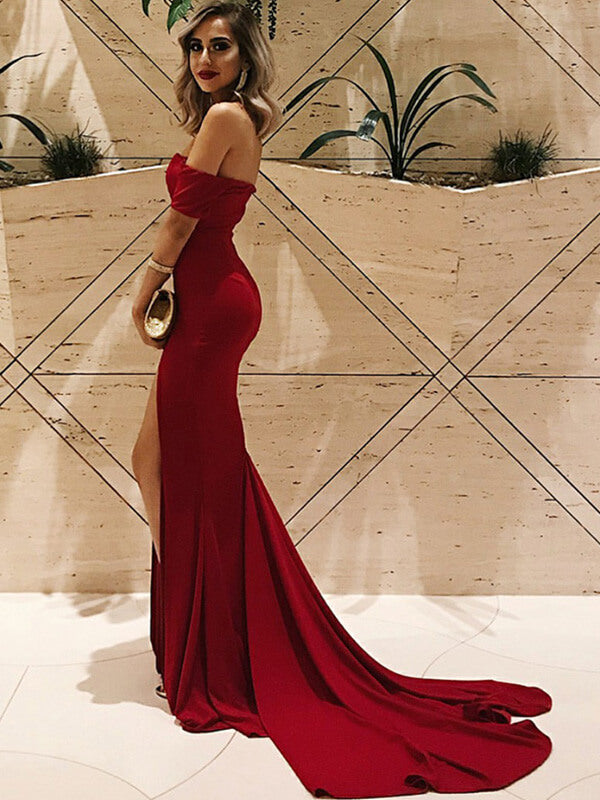 Red Off Shoulder Satin Long Prom Dresses with Split-simibridal