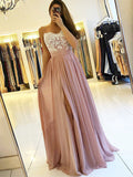 Spaghetti Straps Pink Long Chiffon Prom Dresses with Split-simibridal