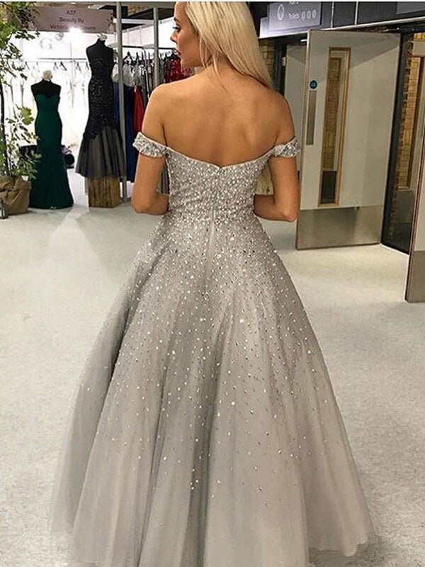 A Line Off Shoulder Long Tulle Prom Dresses with Sequins-simibridal