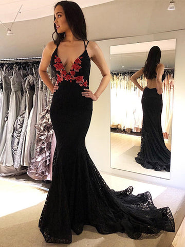 Sexy Black Lace Mermaid Prom Dress Backless Evening Dress-simibridal