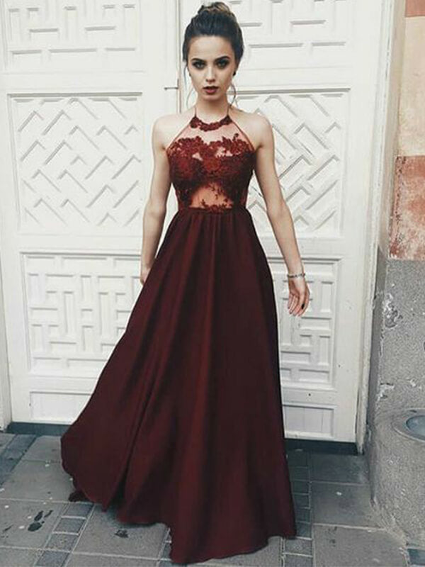 Halter Burgundy Long Satin Prom Dresses with Lace-simibridal