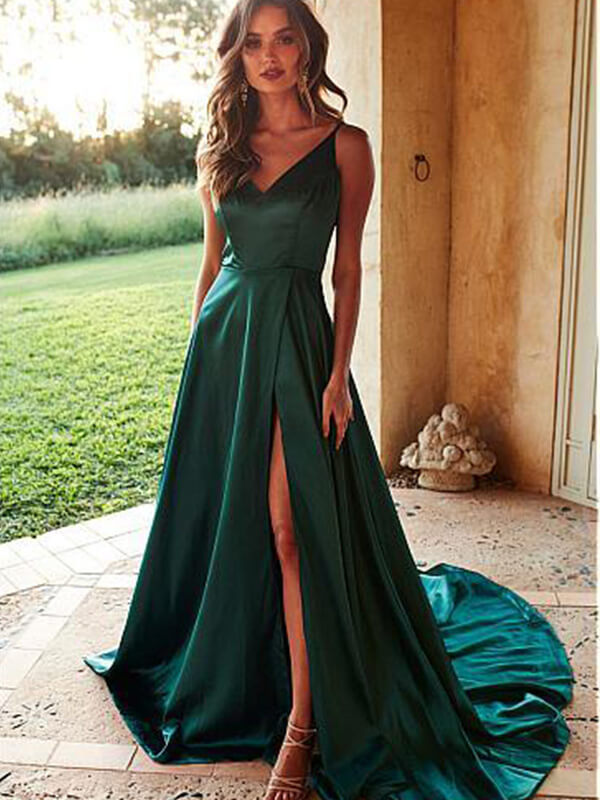 Dark Green Spaghetti Straps Sweep Train Satin Prom Dresses-simibridal
