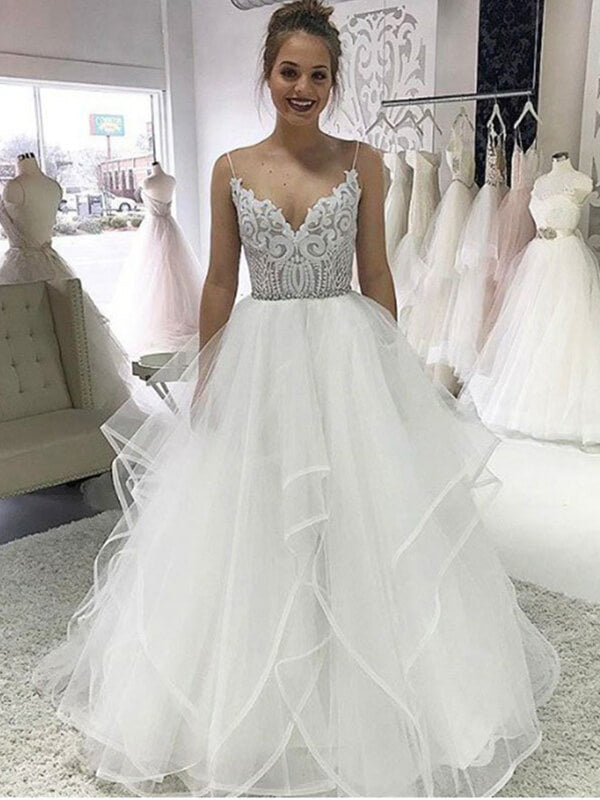 Spaghetti Straps Long Tulle Layers Prom Dresses with Lace-simibridal